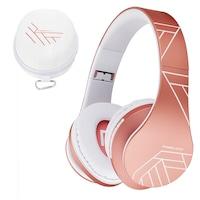 PowerLocus P2 Bluetooth fejhallgató, vezeték nélküli fül köré illeszkedő összehajtható, micro SD, FM Rádió - Rózsa arany