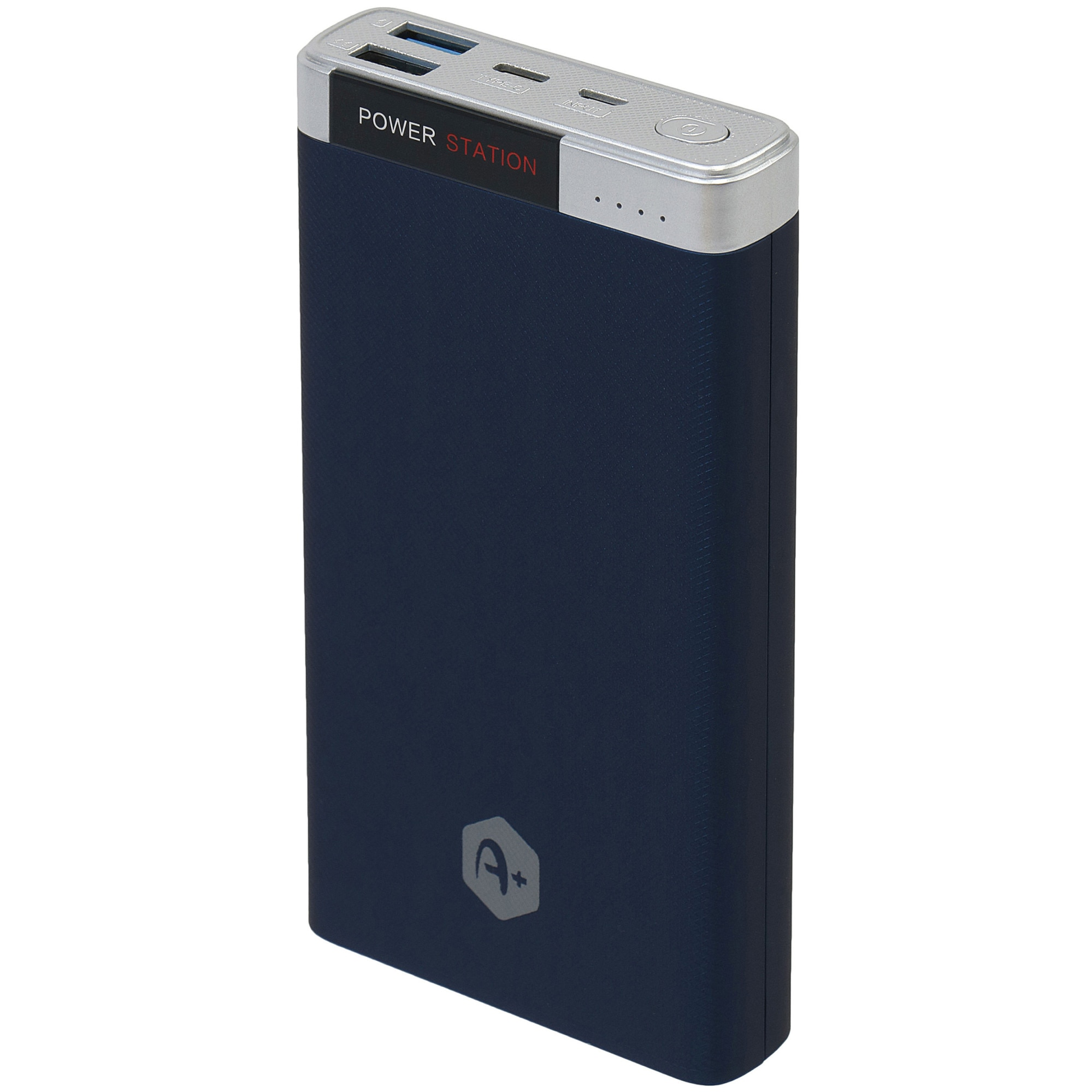 Fotografie Acumulator extern A+, 20.000 mAh Quick Charge 3.0, 2 porturi USB, conectivitate micro USB si type C, Blue
