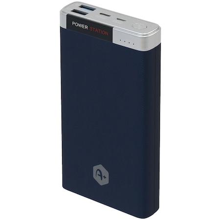 Външна батерия A+, 20 000 mAh, Quick Charge 3.0, 2 USB порта, Свързаност micro USB и type C, Blue