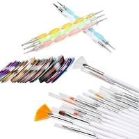 Комплект четки и декорации Егокозметик , 15четки, 5 точкатора, 30 цветни ленти
