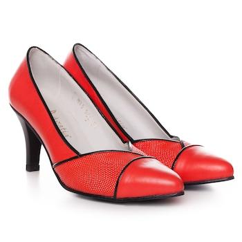 Piros színű, extra minőségű természetes bőrből készült stiletto típusú női cipő, 38-es méret