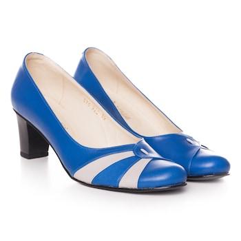 Kék színű, extra minőségű természetes bőrből készült női cipő, 36-es méret