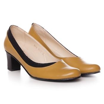 Sárga színű, extra minőségű természetes bőrből készült női cipő, 37-es méret