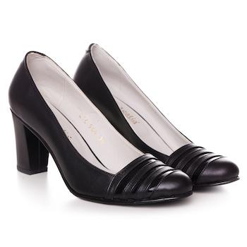 Fekete színű, extra minőségű természetes bőrből készült női cipő, 36-es méret