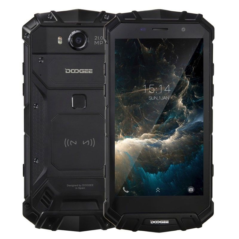 Doogee S60 Mobiltelefon, Ujjlenyomat, Wireless töltés, Dual SIM, Android 7.0, 5.2 inch, 6GB RAM, 64GB ROM, Fekete