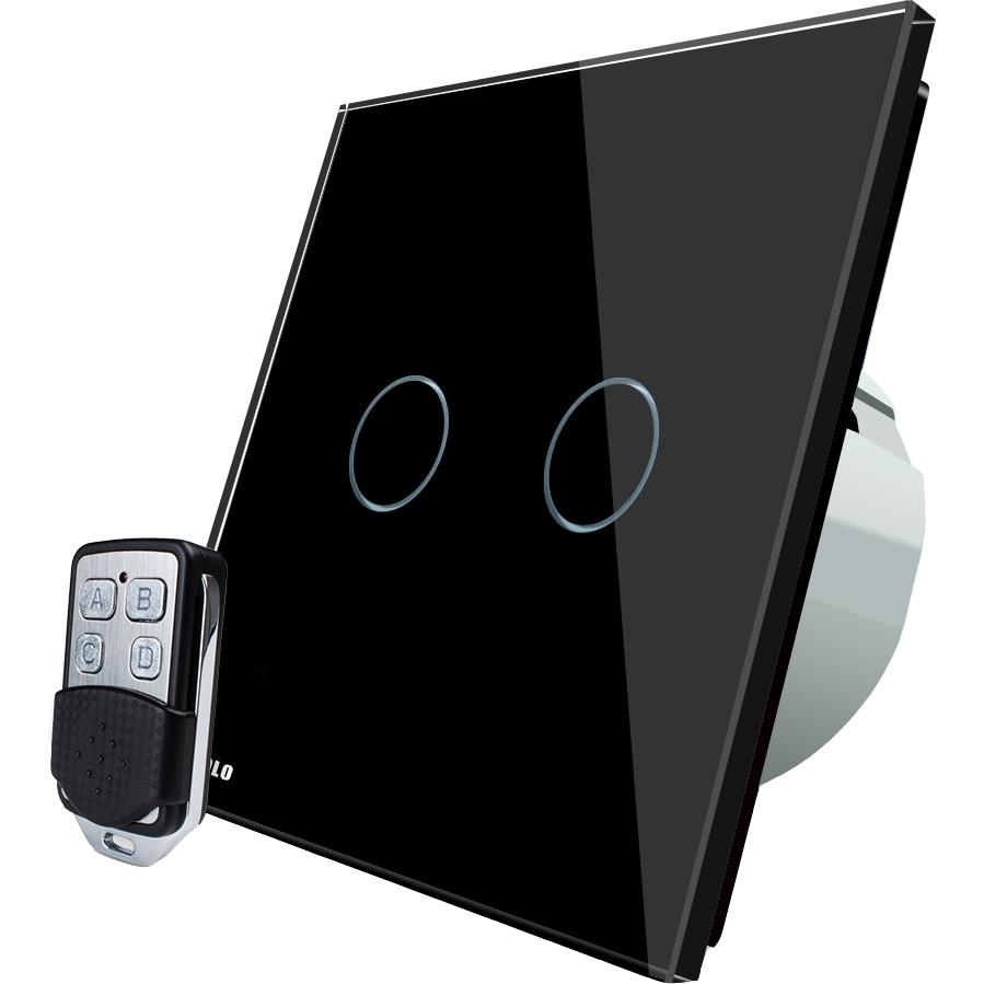 Fotografie Intrerupator dublu cu touch Livolo, Wireless, Telecomanda inclusa, Negru