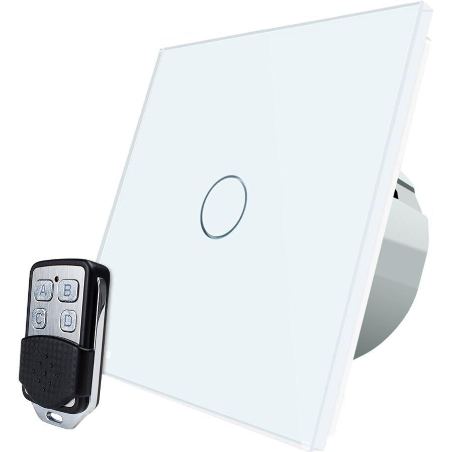 Fotografie Intrerupator simplu cu touch Livolo, Wireless, Telecomanda inclusa, Alb