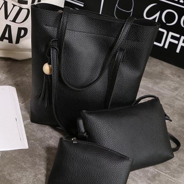 Palmonix 3 elegáns bőr táska, különböző méretű, fekete színű