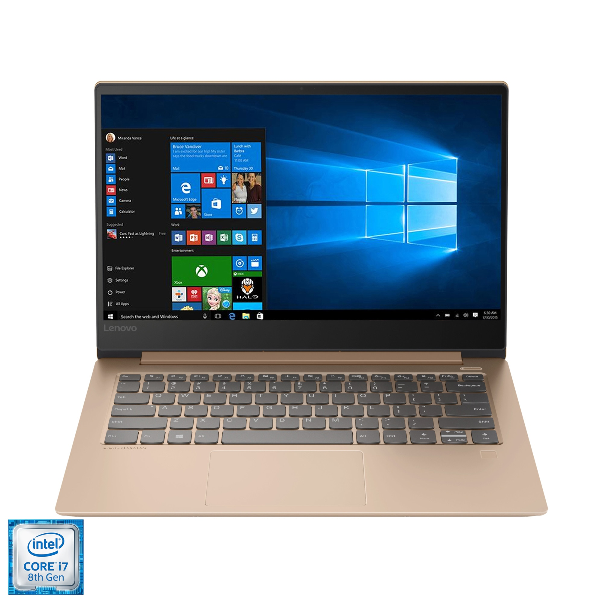 """Fotografie Laptop ultraportabil Lenovo IdeaPad 530S-14IKB cu procesor Intel® Core™ i7-8550U pana la 4.00 GHz, Kaby Lake R, 14"""", WQHD, IPS, 16GB, 512GB SSD, NVIDIA GeForce MX 150 2GB, Microsoft Windows 10, Copper"""