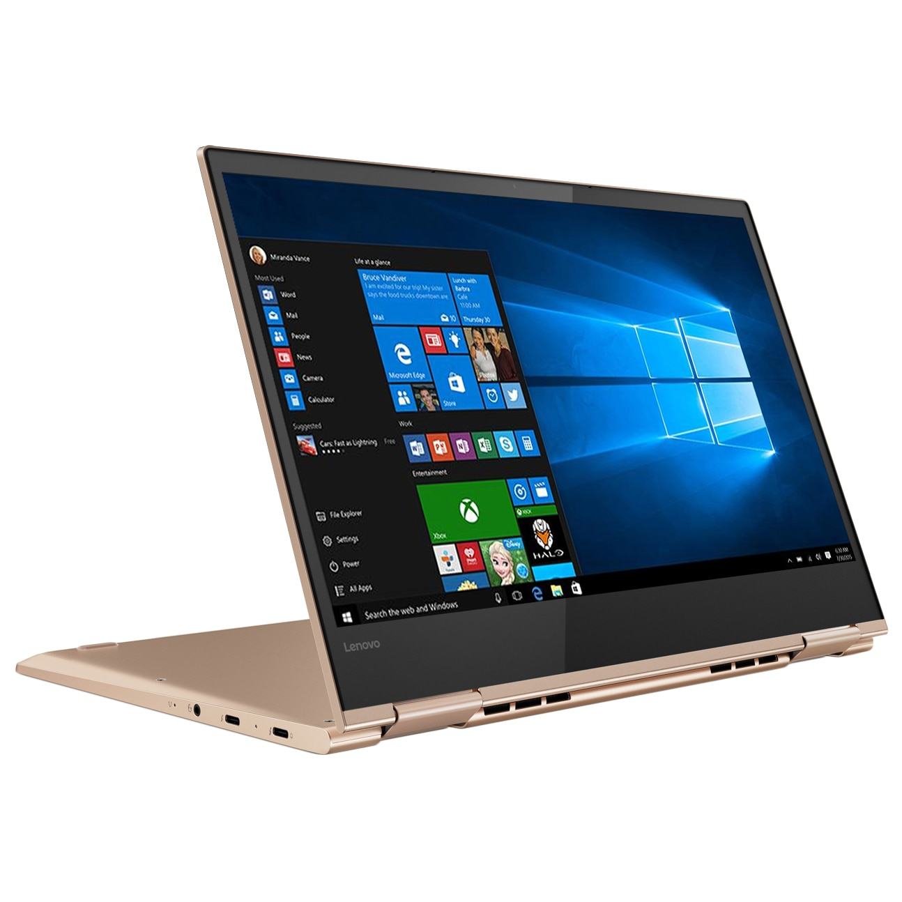 "Fotografie Laptop 2 in 1 Lenovo YOGA 730-13IKB cu procesor Intel® Core™ i7-8550U pana la 4.00 GHz, Kaby Lake R, 13.3"", Full HD, IPS, Touch, 8GB, 256GB SSD, Intel® UHD Graphics 620, Microsoft Windows 10, Copper, Bluetooth Active Pen"