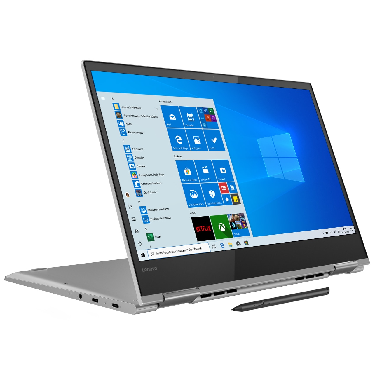 "Fotografie Laptop 2 in 1 Lenovo YOGA 730-13IKB cu procesor Intel® Core™ i5-8250U pana la 3.40 GHz, Kaby Lake R, 13.3"", Full HD, IPS, Touch, 8GB, 256GB SSD, Intel® UHD Graphics 620, Microsoft Windows 10, Active Pen, Platinum"