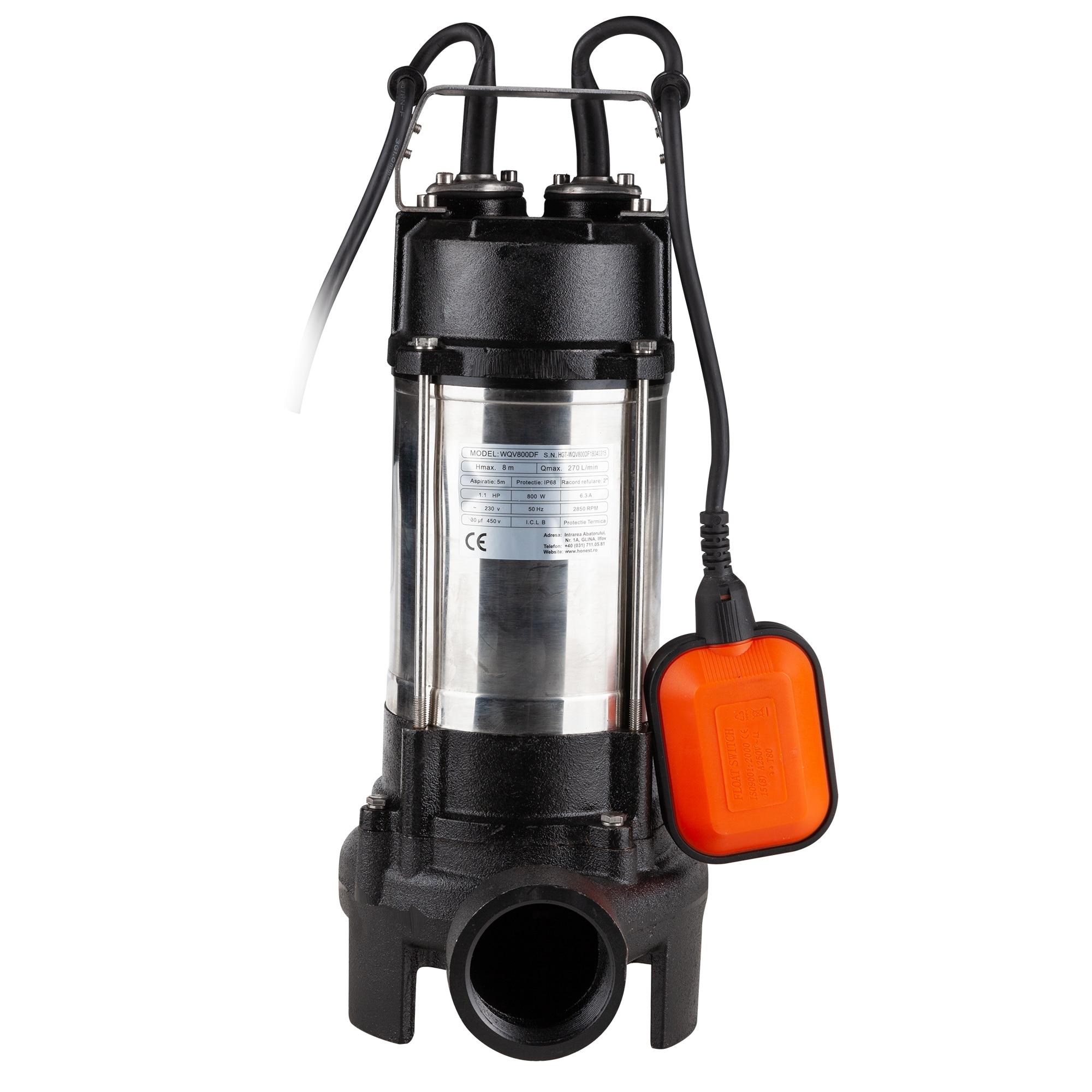 "Fotografie Pompa submersibila cu tocator Evotools, 800W, adancime max 5 m, Hmax 8 m, debit 270 l/min, racord refulare 2"", Inox"