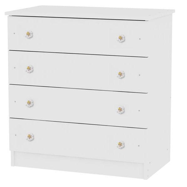 Fotografie Comoda lemn Lorelli Classic, 4 sertare, 81 x 50 x 86 cm, Alb