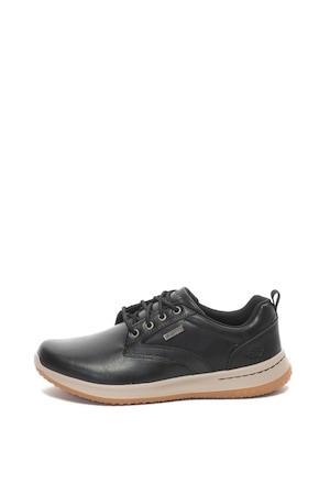 Skechers, Delson vízálló bőr sneakers cipő, Fekete, 42.5