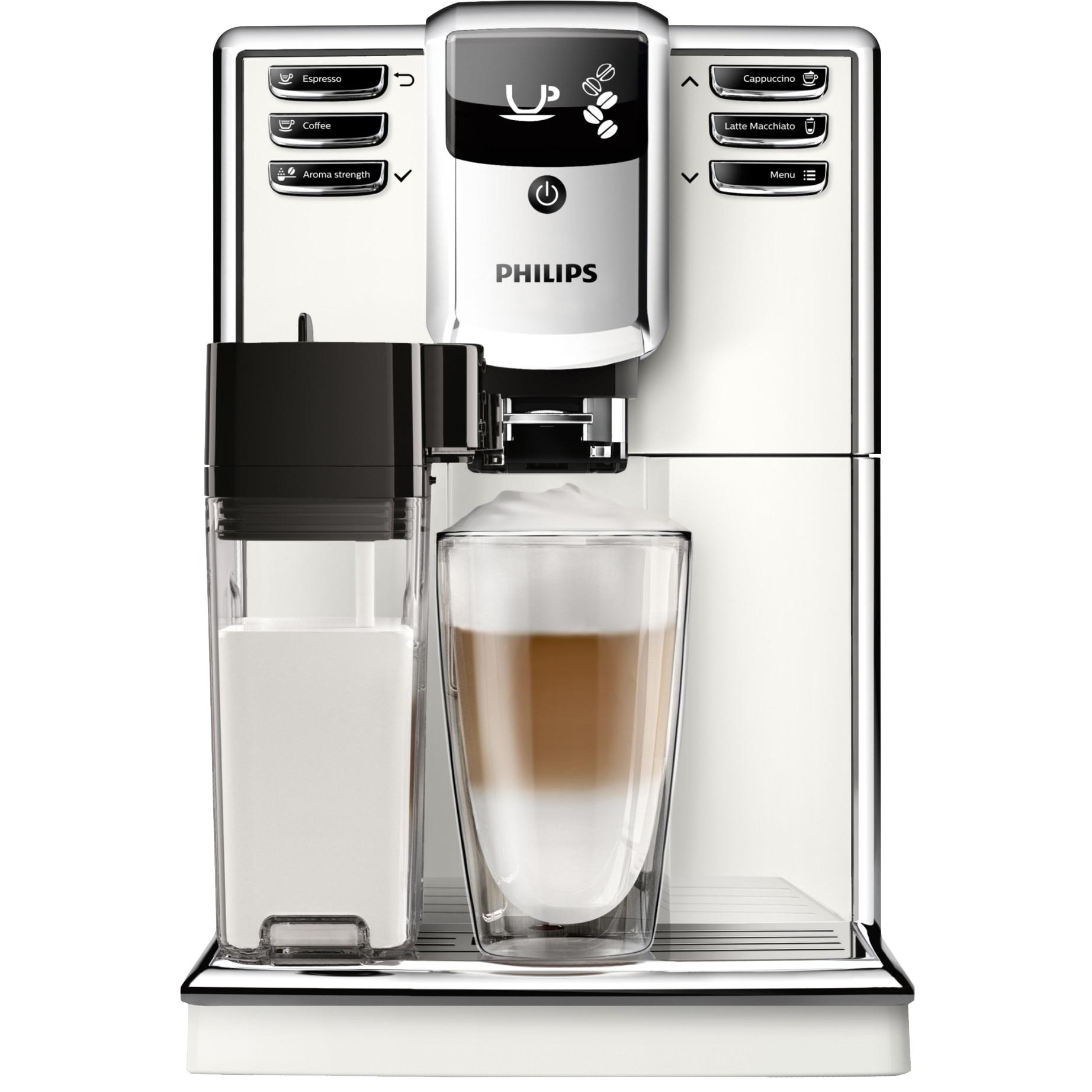 Fotografie Espressor super-automat Philips EP5361/10 Seria 5000, 15 bar, 1.8 L, Sistem AquaClean, Tehnologie CoffeeSwitch, Carafa de lapte integrata, 5 setari intensitate, Optiune cafea macinata, 5 bauturi, Alb