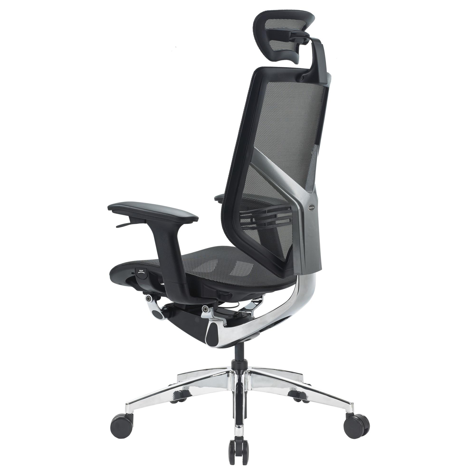 QMOBILI TENDER FORM HI Fekete ergonomikus szék, mesh, szinkron mechanika, deréktámasz, 2D karfa, 2D fejtámla, alumínium csillagláb eMAG.hu