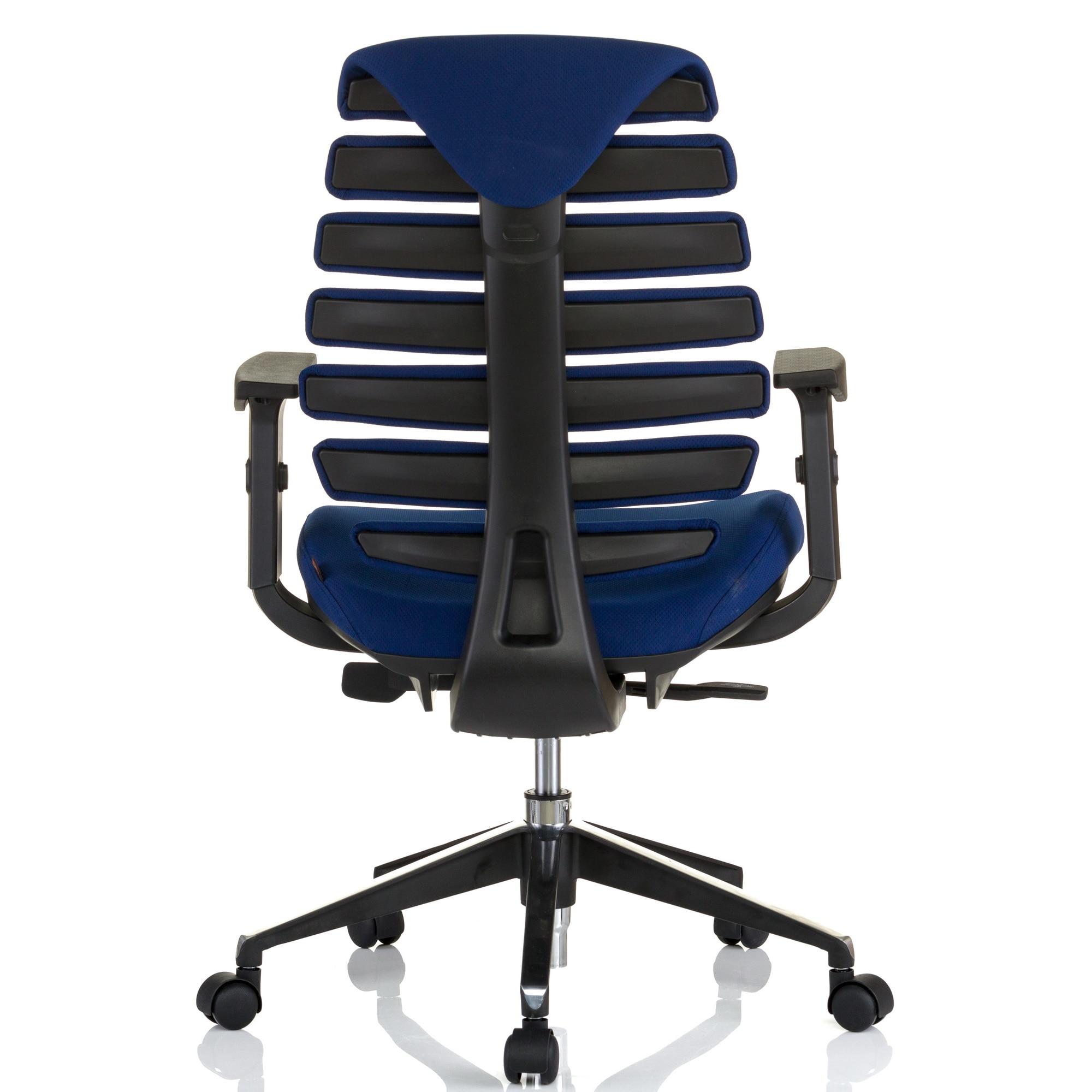 QMOBILI ERGO LINE Kék ergonomikus szék, szövet, csúszó ülés, önállóan állítható deréktámasz, állítható 3D karfa, alumínium csillagláb, gumírozott