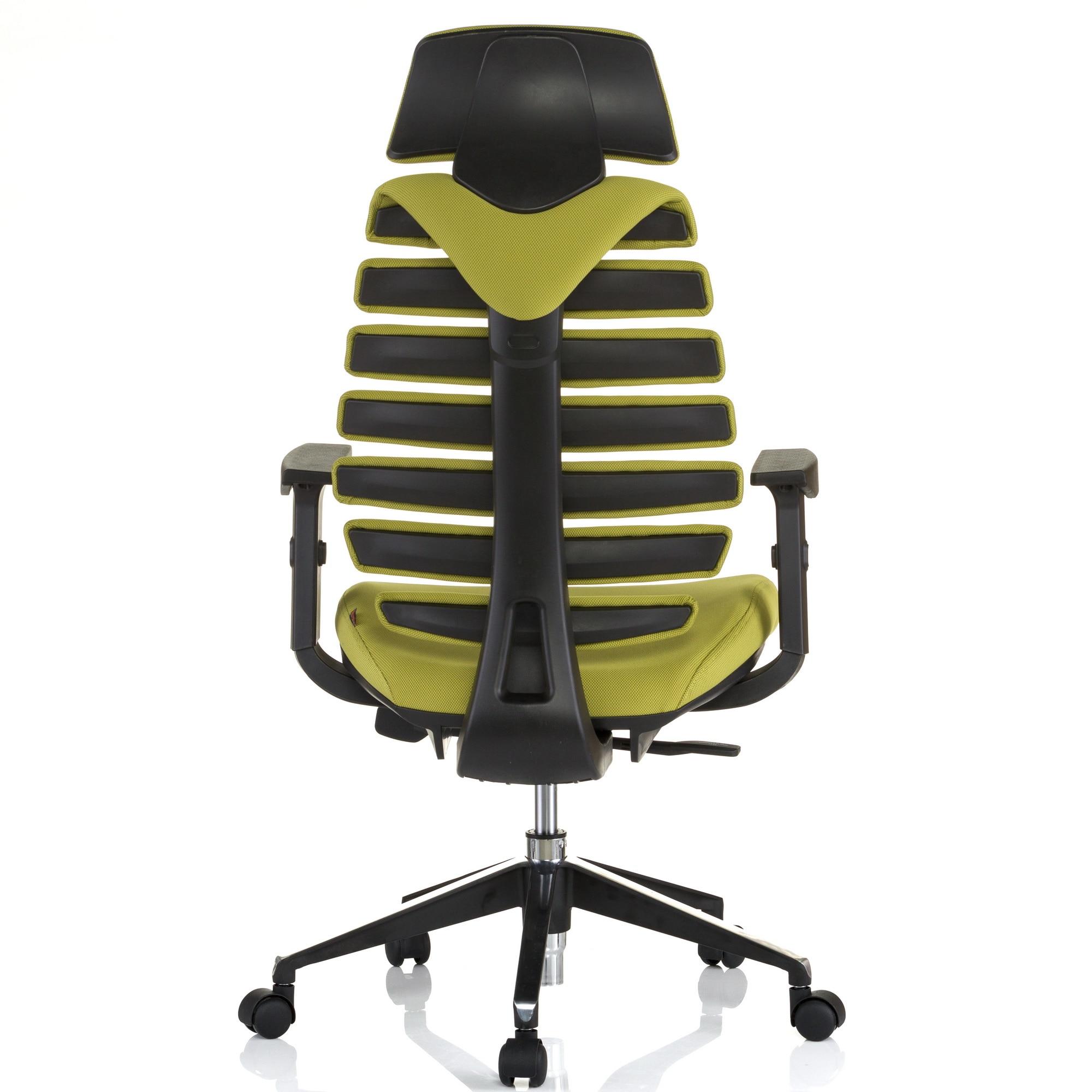 QMOBILI ERGO LINE HI Világos zöld ergonomikus szék, szövet, fejtámla, csúszó ülés, önállóan állítható deréktámasz, állítható 3D karfa, alumínium