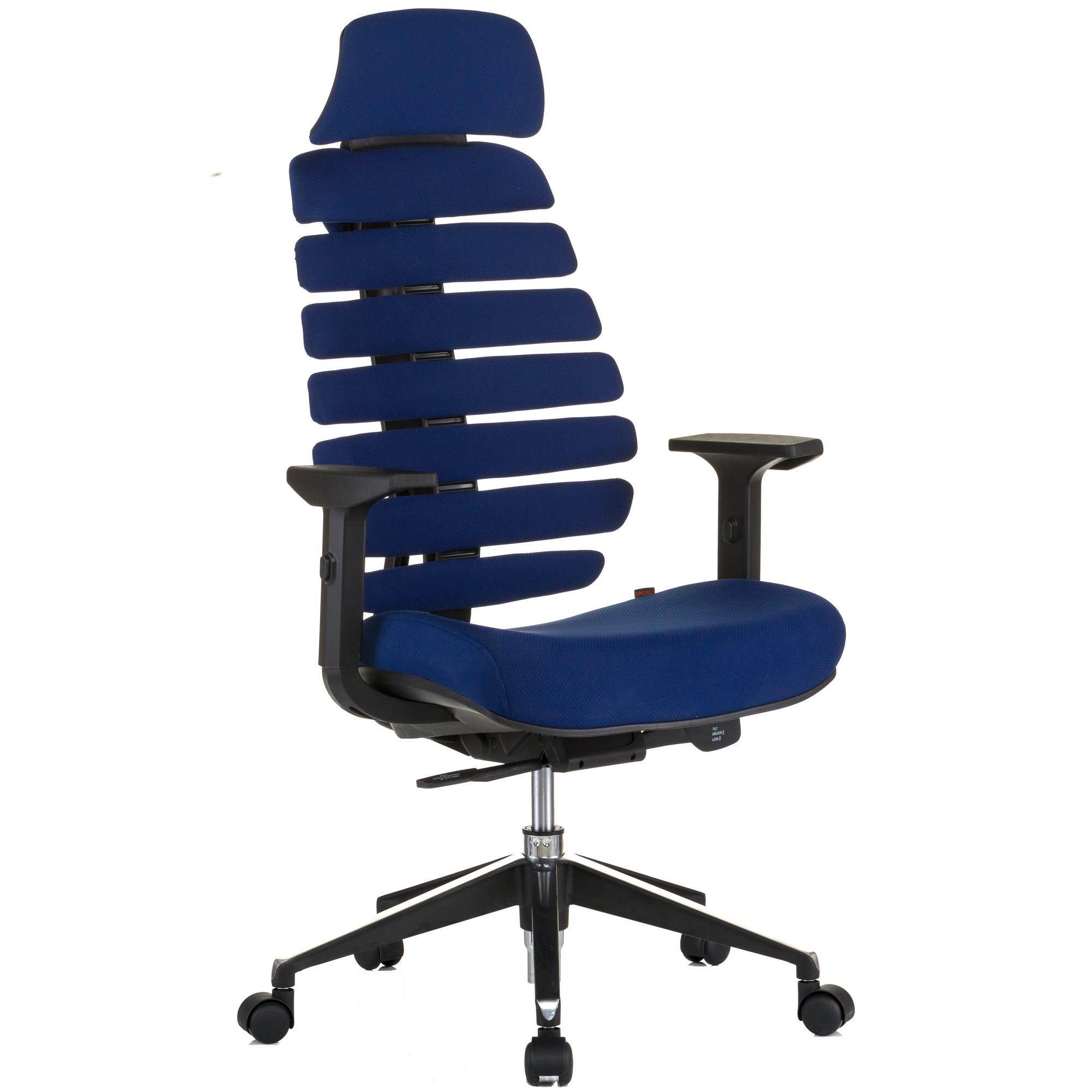 QMOBILI ERGO LINE HI Sötétkék ergonomikus szék, szövet, fejtámla, csúszó ülés, önállóan állítható deréktámasz, állítható 3D karfa, alumínium