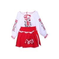 Costum popular pentru fete, 2 piese, alb-rosu, dae635, 2-3 ani