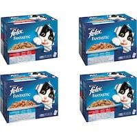 Комплект Храна за котки в зряла възраст PURINA® FELIX® Fantastic, Месо и Риба, Мокра храна, Пауч, 4 стека по 12бр. х100g