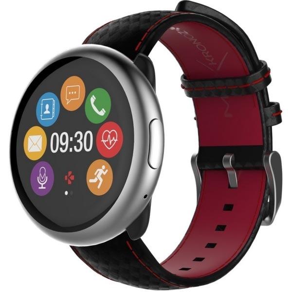 Fotografie Smartwatch MyKronoz ZeRound 2 HR Premium, Silver/Black Red