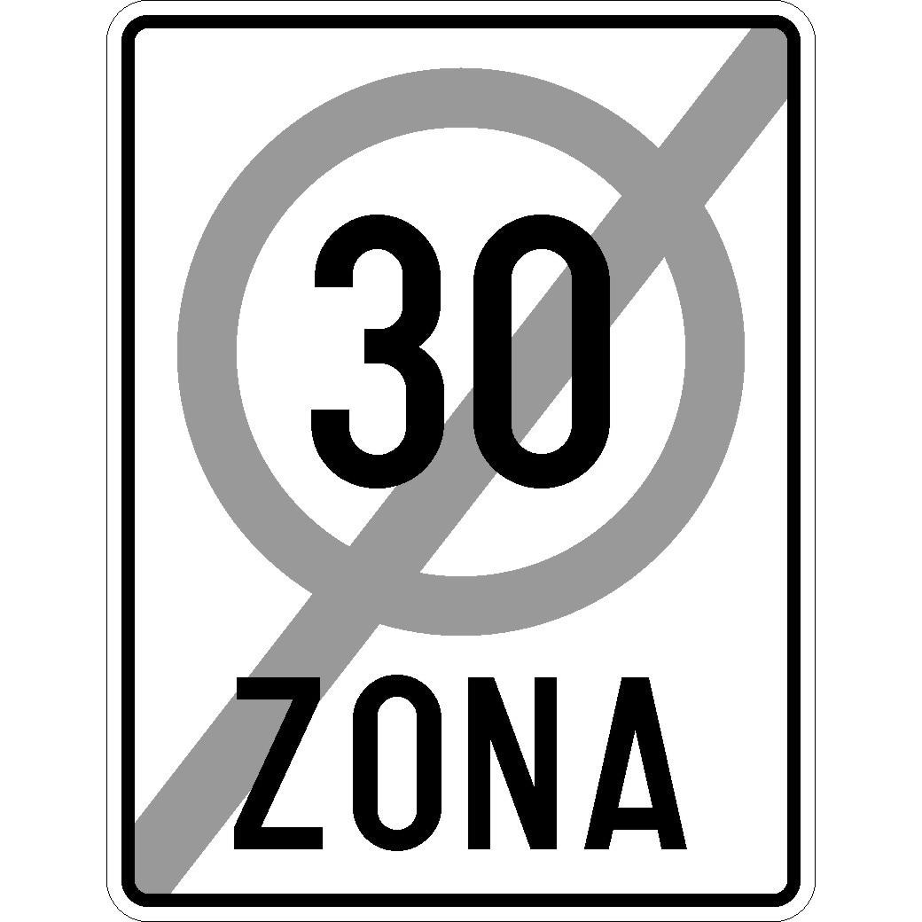 Indicator rutier Sfarsitul zonei cu viteza limitata la 30km/h 650x500 mm - eMAG.ro