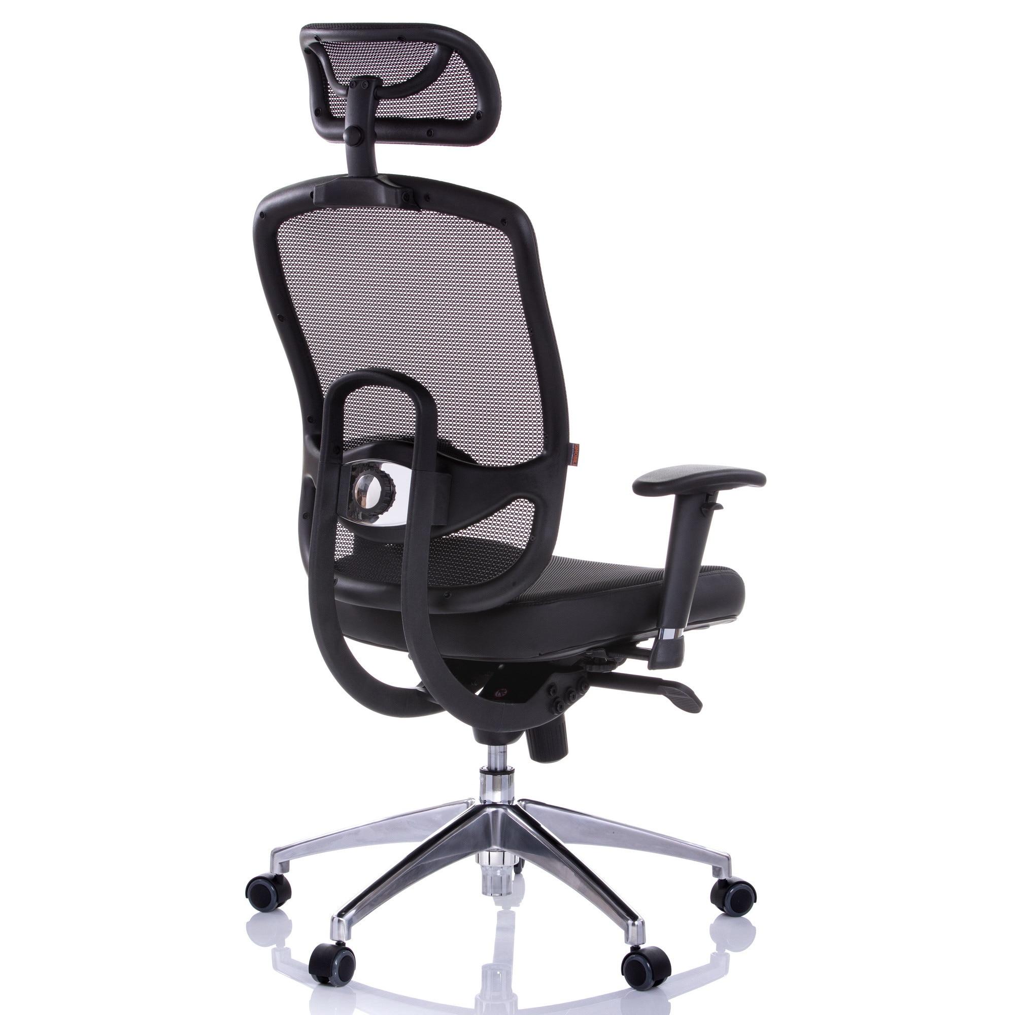 QMOBILI OKLAHOMA HI Ergonomikus szék, Fekete, mesh, szinkronmechanika, állítható deréktámasz, fejtámla, állítható karfa PP, alumínium basis eMAG.hu