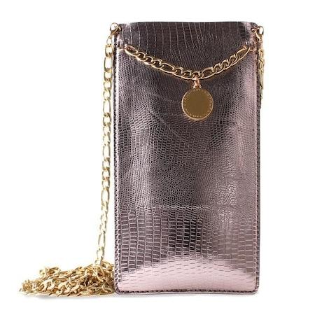 Husa de protectie Puro Glam Chain, Maro/Auriu