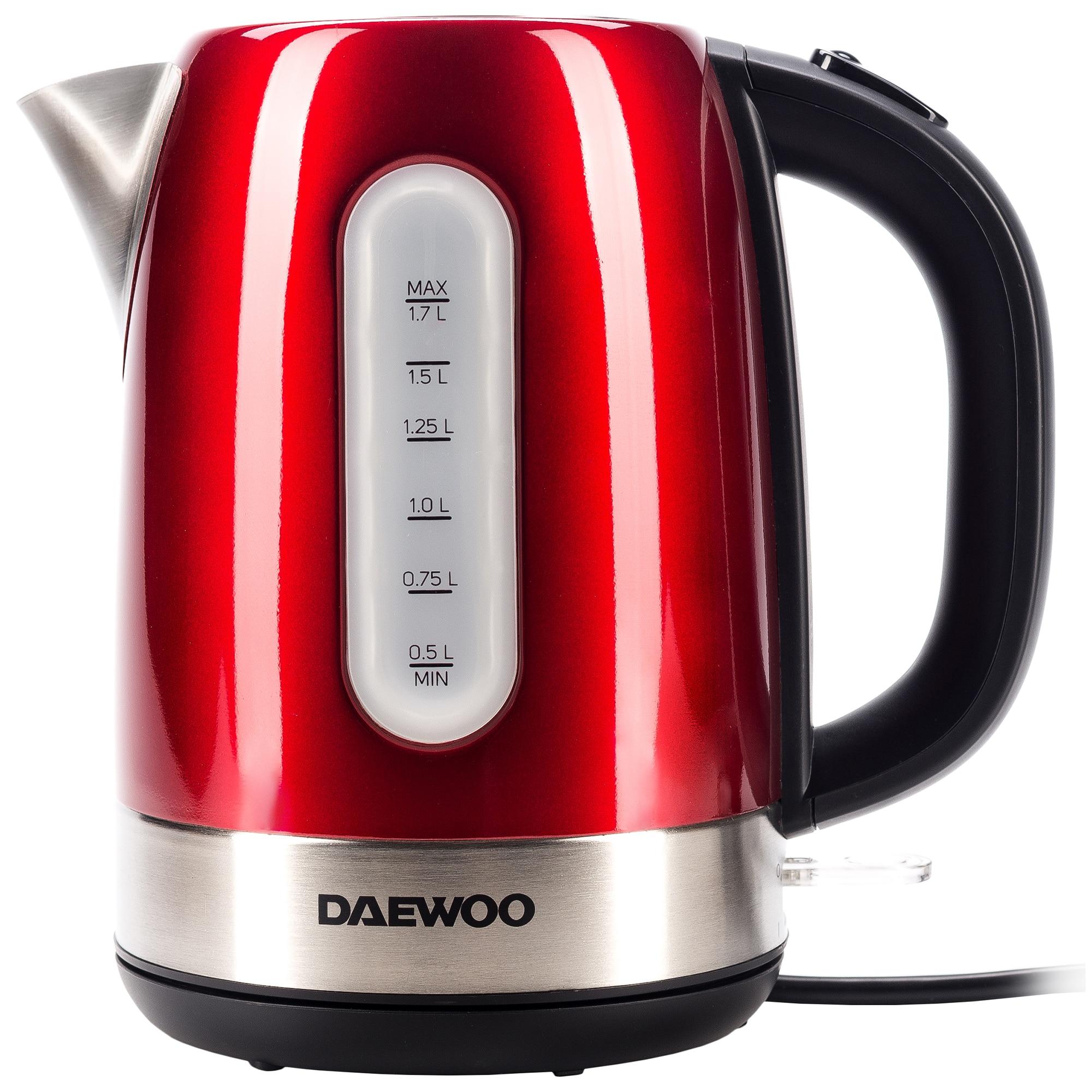 Fotografie Fierbator apa Daewoo DK2400R, 2400 W, 1.7 l, indicator nivel apa, protectie supraincalzire, oprire automata, Rosu/Inox