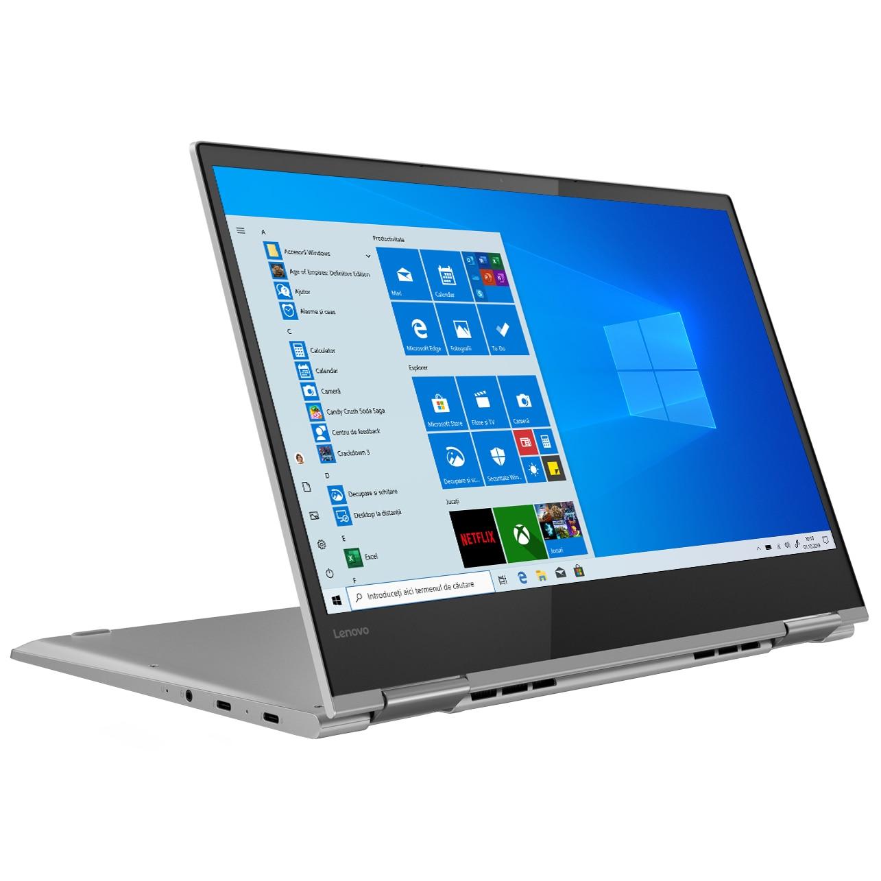 "Fotografie Laptop 2 in 1 Lenovo YOGA 730-13IKB cu procesor Intel® Core™ i7-8550U pana la 4.00 GHz, Kaby Lake R, 13.3"", UHD, IPS, Touch, 8GB, 512GB SSD, Intel® UHD Graphics 620, Microsoft Windows 10, Platinum, Bluetooth Active Pen"