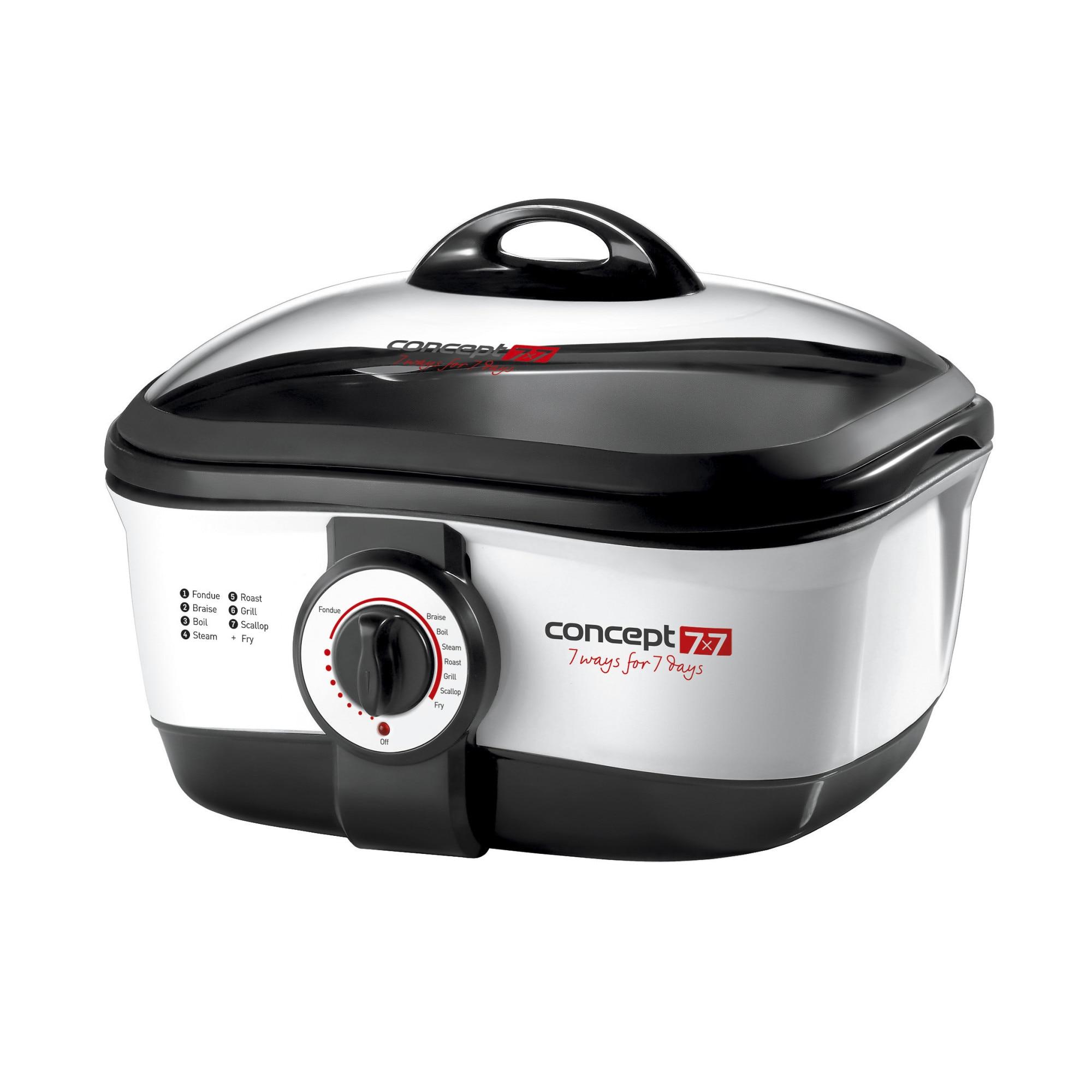 Fotografie Multicooker Concept CK7070, 1650 W, 4 L, 7 programe, Set fondue inclus, Negru/Inox
