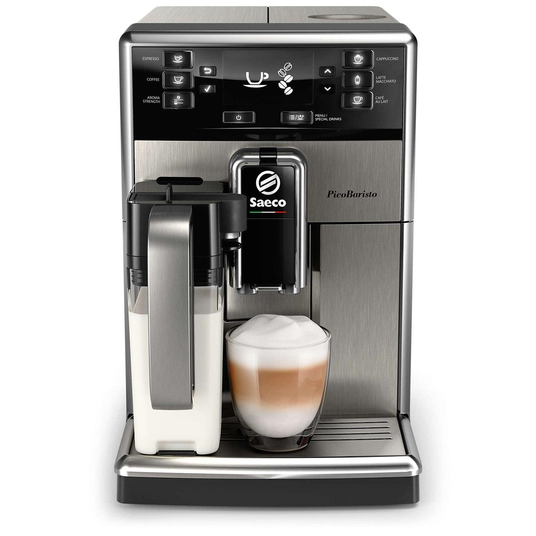 Fotografie Espressor automat Saeco PicoBaristo SM5473/10, 10 bauturi, Carafa pentru lapte integrata 0.5 L, filtru AquaClean, Inox/Negru
