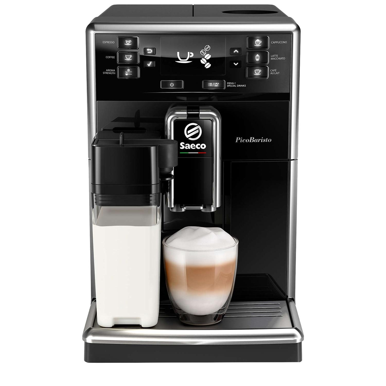 Fotografie Espressor automat Saeco PicoBaristo SM5460/10, 10 bauturi, Carafa pentru lapte integrata 0,5 L, filtru AquaClean, Negru