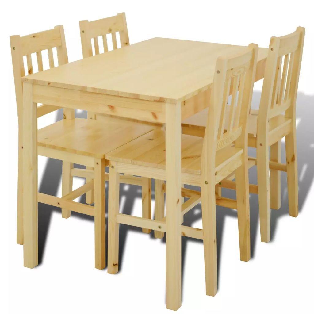 vidaXL Fa Étkező Asztal 4 Székkel étkező garnitúra Természetes