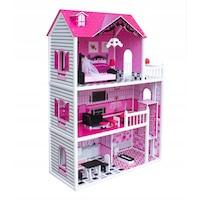 Wooden Toys - Fa babaház Róza lifttel és bútorokkal