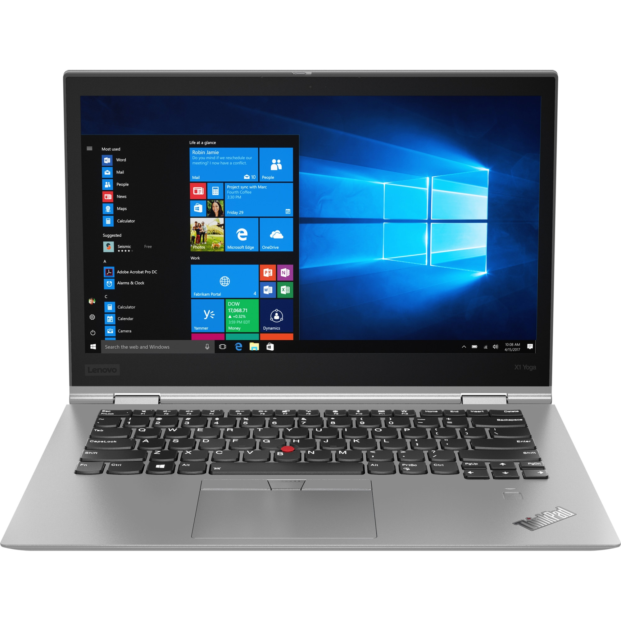 "Fotografie Laptop 2 in 1 Lenovo ThinkPad X1 Yoga (3nd Gen) cu procesor Intel® Core™ i7-8550U pana la 4.00 GHz, Kaby Lake R, 14"", WQHD, IPS, HDR, Touch, 16GB, 1TB SSD, Intel® UHD Graphics 620, 4G LTE, FPR, Microsoft Windows 10 Pro, Silver Silver"