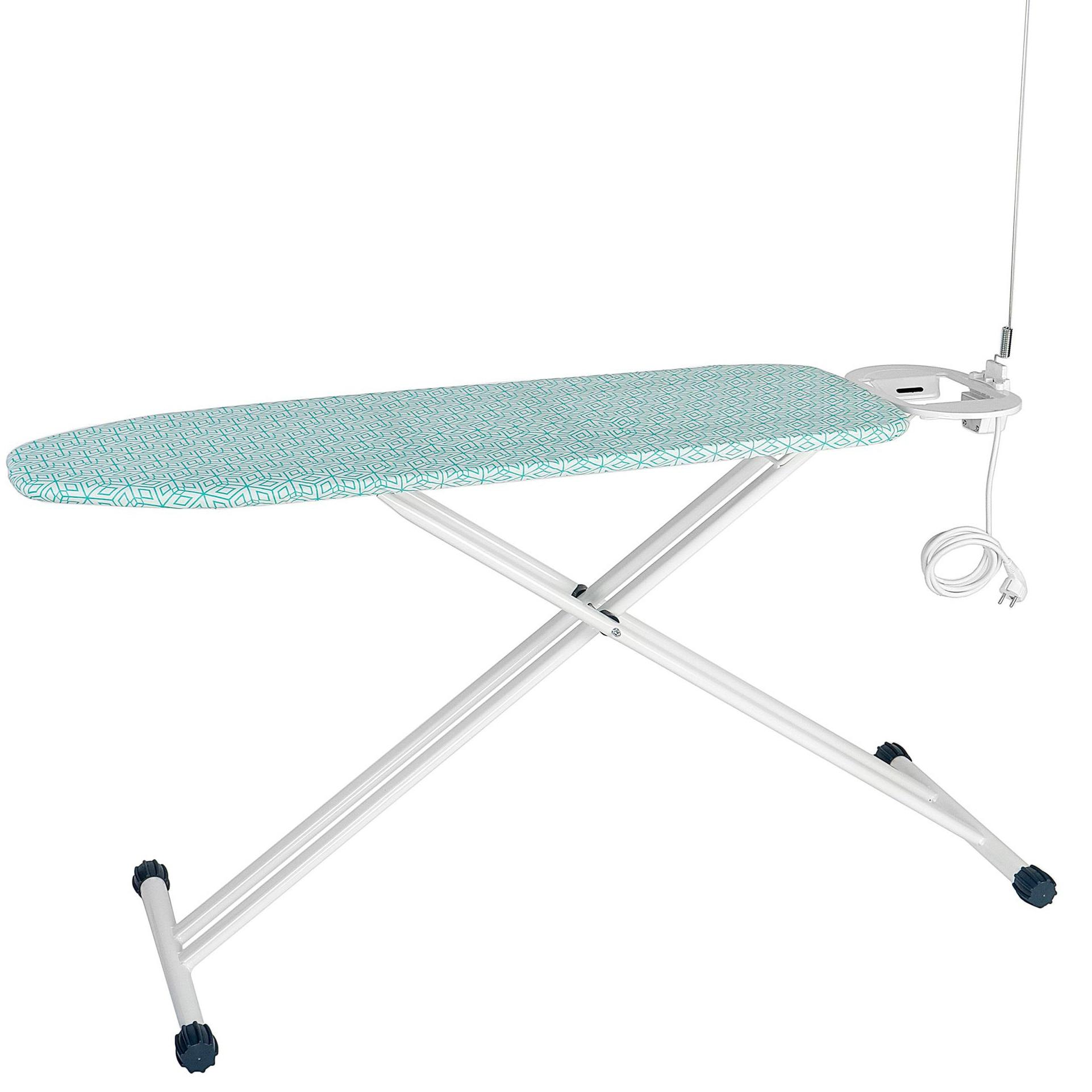 Fotografie Masa de calcat Kring Pro Confort, cu priza electrica si antena, 38 x 120 cm, Alb/Verde