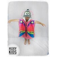 Детско плажно пончо HuxyKids, 3D елементи, Пеперуда, Размер 3-5 години