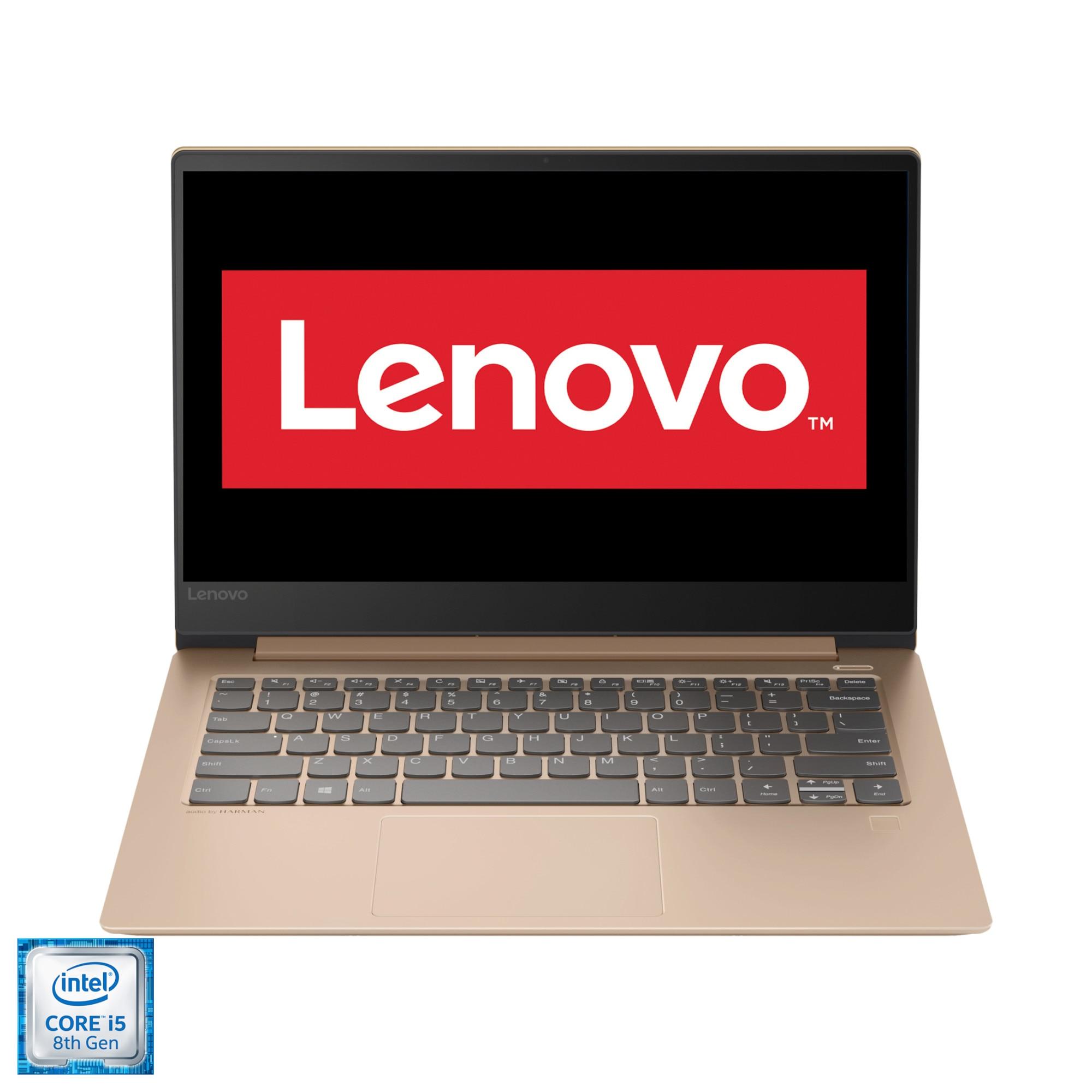 "Fotografie Laptop ultraportabil Lenovo IdeaPad 530S-14IKB cu procesor Intel® Core™ i5-8250U pana la 3.40 GHz, Kaby Lake R, 14"". WQHD, IPS, 8GB, 512GB M.2 SSD, Intel® UHD Graphics 620, FPR, Free DOS, Copper"