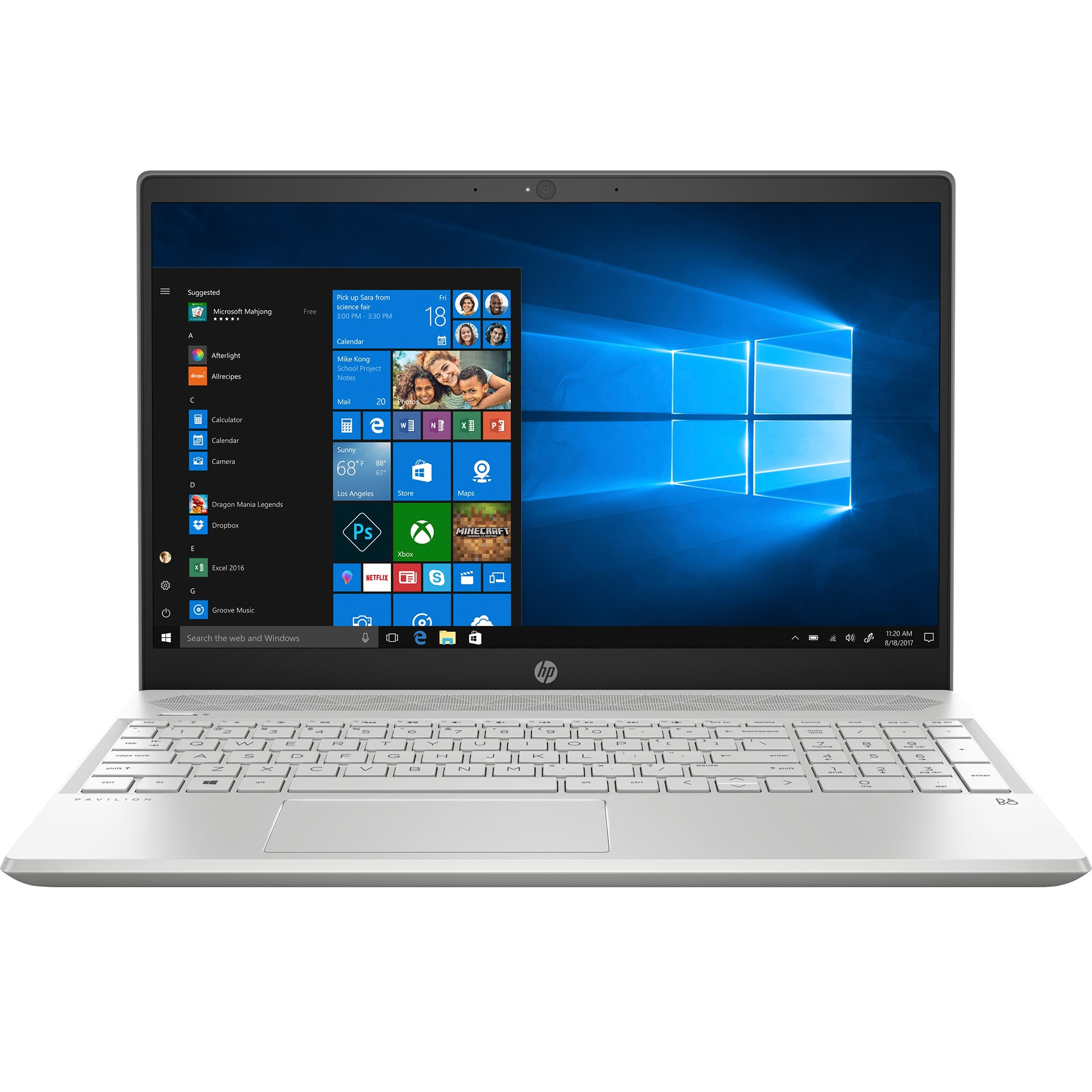 "Fotografie Laptop HP Pavilion 15-cs0003nq cu procesor Intel® Core™ i5-8250U pana la 3.40 GHz, Kaby Lake R, 15.6"", Full HD, 8GB, 256GB SSD, NVIDIA® GeForce® MX130 2GB, Microsoft Windows 10, Silver"
