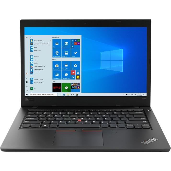 "Fotografie Laptop Lenovo Thinkpad L480 cu procesor Intel® Core™ i7-8550U pana la 4.00 GHz, Kaby Lake R, 14"", Full HD, IPS, 16GB, 512GB SSD, Intel® UHD Graphics 620, Microsoft Windows 10 Pro, Black"