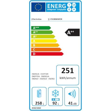 Combina frigorifica Electrolux EN3886MOX, 350 l, Clasa A++, Full No Frost, H 200 cm, Display, Touch control, Inox antiamprenta