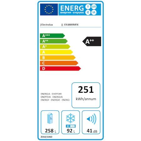Combina frigorifica Electrolux EN3889MFX, 350 l, Clasa A++, Full No Frost H 200 cm, Display, Touch control, Inox antiamprenta