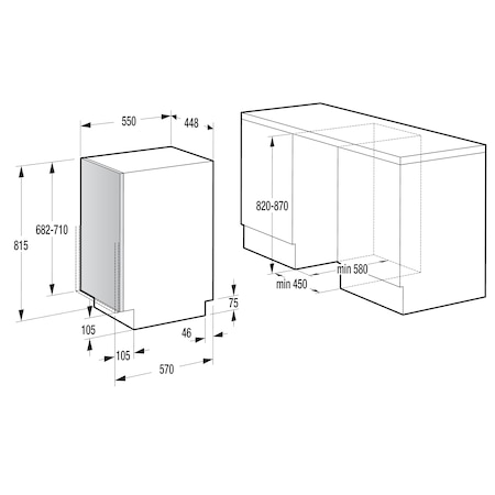 Masina de spalat vase incorporabila Hansa ZIM 476 EH, 10 seturi, 6 programe, Clasa A++, 45 cm