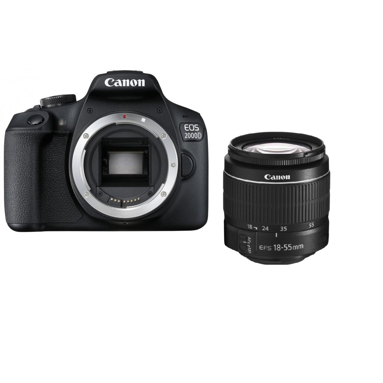 Fotografie Aparat foto DSLR Canon EOS 2000D,24.1 MP, Negru + Obiectiv EF-S 18-55mm DC III