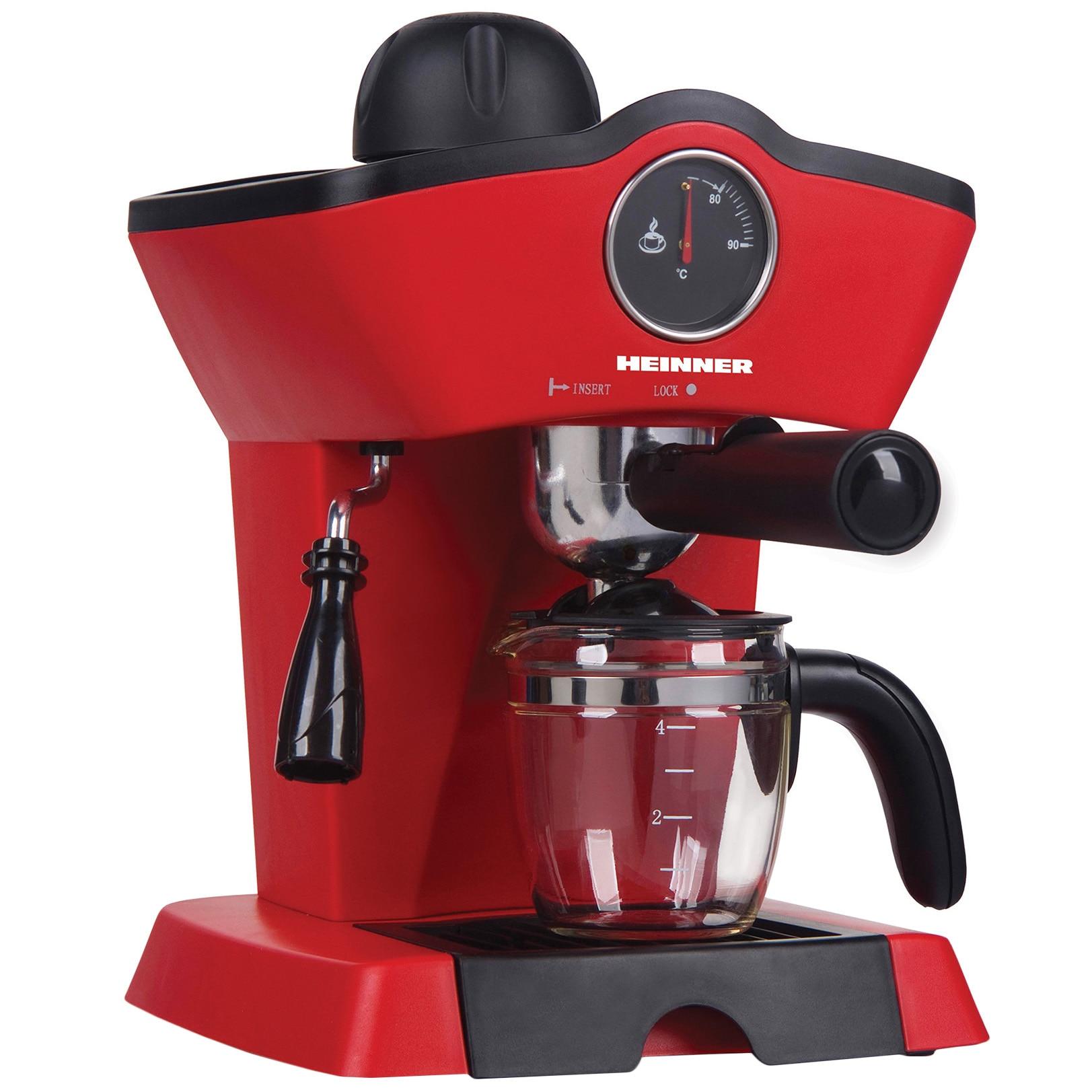 Fotografie Espressor manual Heinner HEM-200RD, 800W, 3.5 bar, filtru inox, 250 ml, Rosu