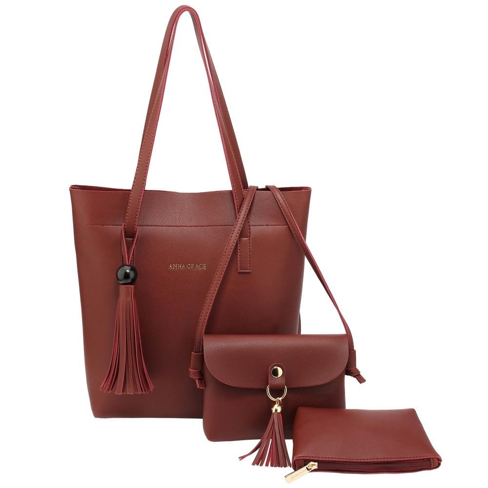 Háromrészes női táska szett, műbőr, barna eMAG.hu