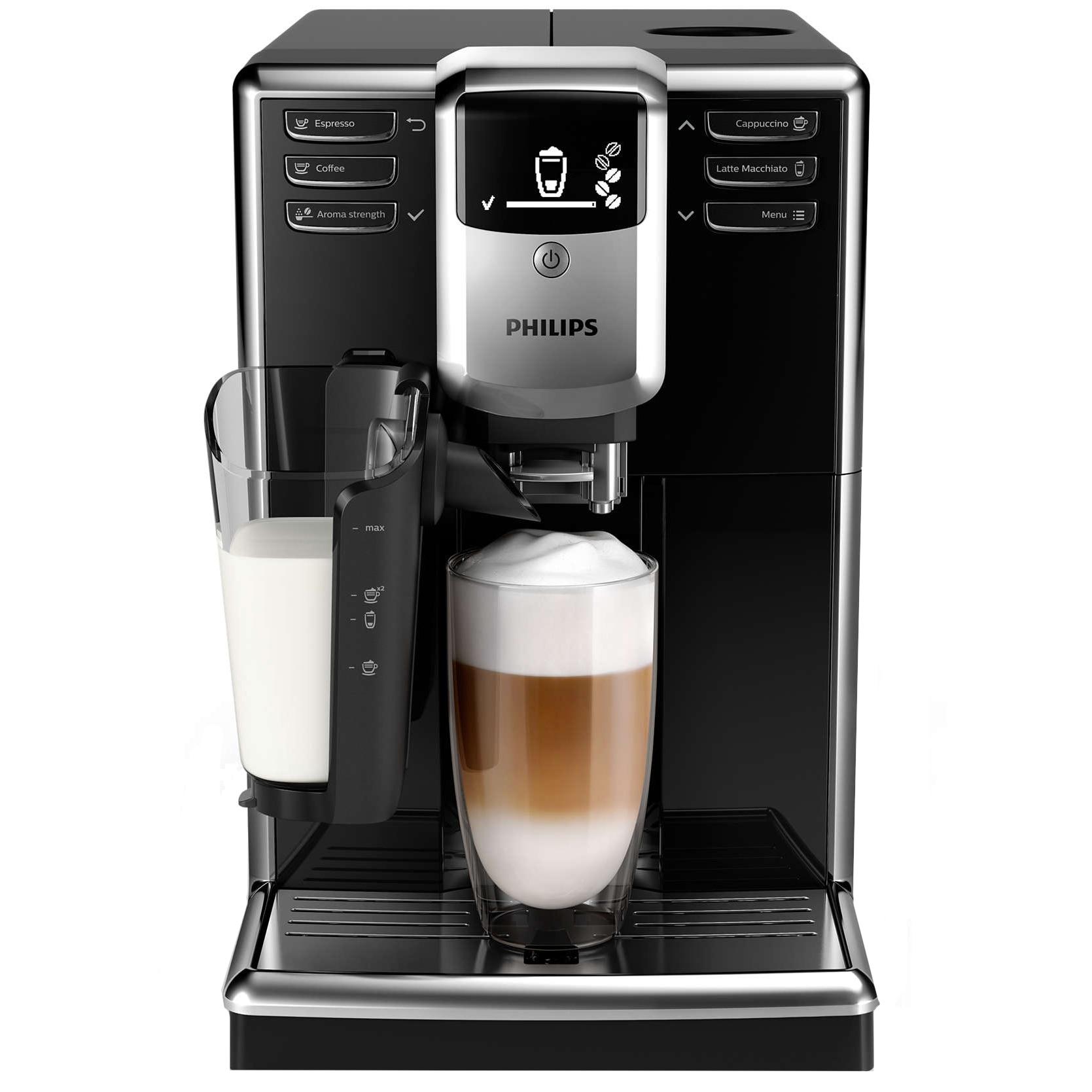 Fotografie Espressor automat Philips EP5330/10 Seria 5000, sistem de lapte LatteGo, 6 bauturi, 5 setari intensitate, 5 trepte macinare, rasnita ceramica, Negru