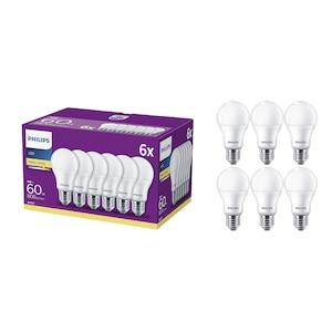Set 6 becuri LED Philips, E27, 9W (60W), 806 lm, A+, lumina alba calda